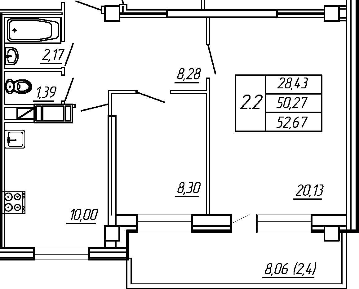 Жилойдом по ул.Мохова, 40(по ГП), Двухкомнатная квартира площадью 52.67 м2