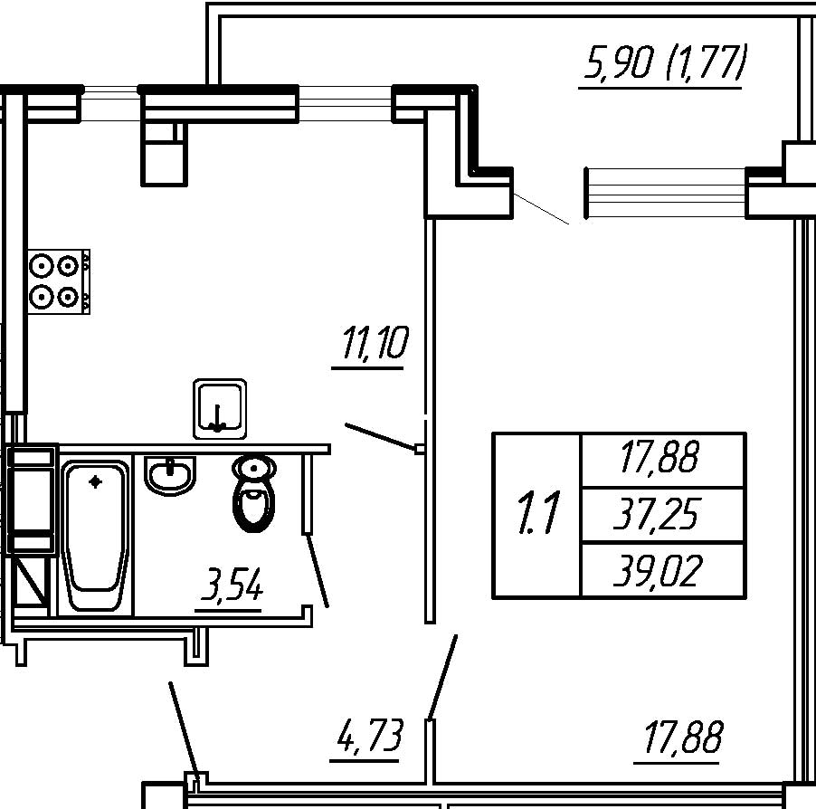 Жилойдом по ул.Мохова, 40(по ГП), Однокомнатная квартира площадью 39.02 м2