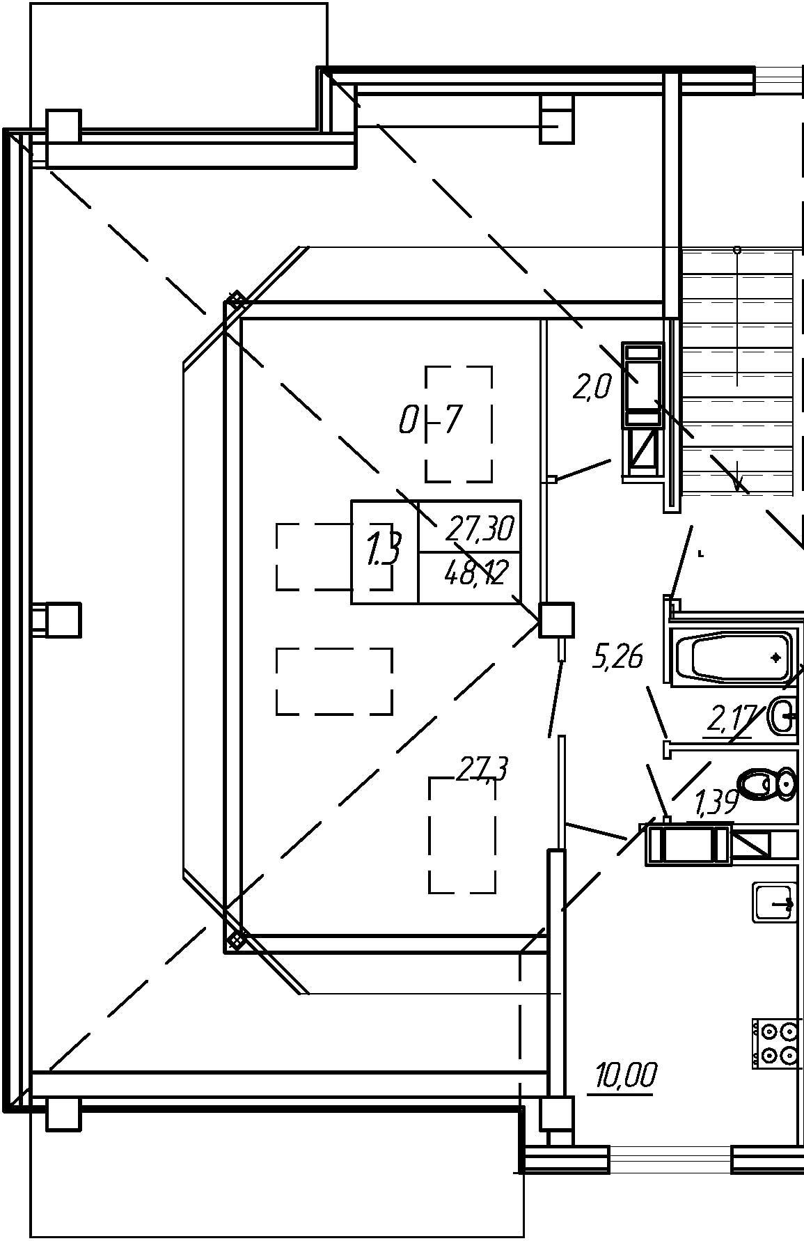 Жилойдом по ул.Мохова, 40(по ГП), Однокомнатная квартира площадью 48.12 м2