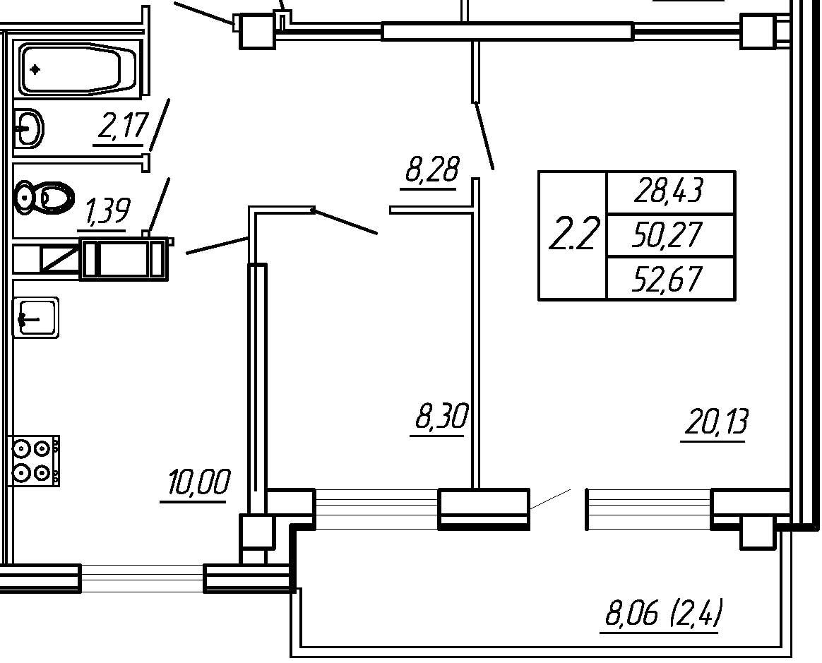 Жилойдом по ул.Мохова, 44(по ГП), Двухкомнатная квартира площадью 52.67 м2