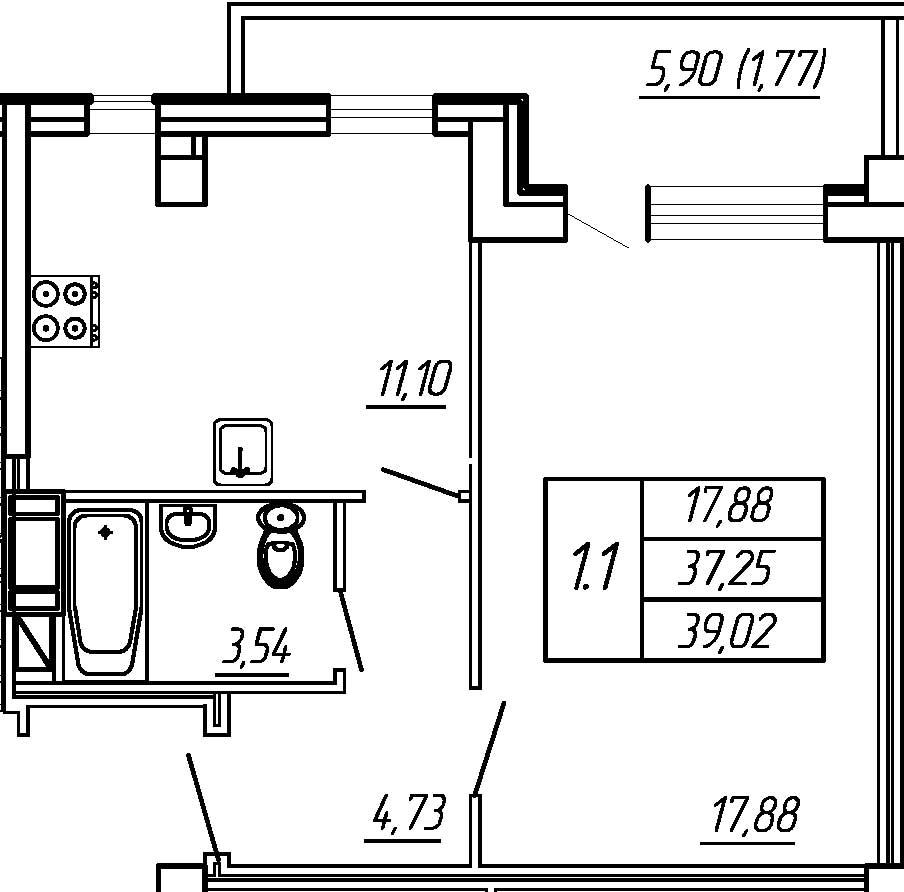 Жилойдом по ул.Мохова, 44(по ГП), Однокомнатная квартира площадью 39.02 м2