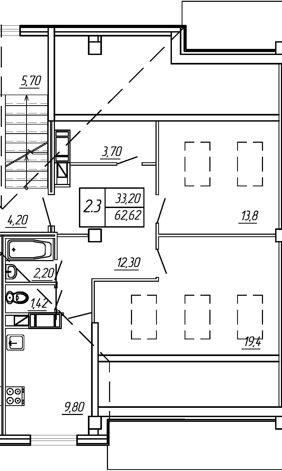 Жилойдом по ул.Мохова, 44(по ГП), Двухкомнатная квартира площадью 62.62 м2