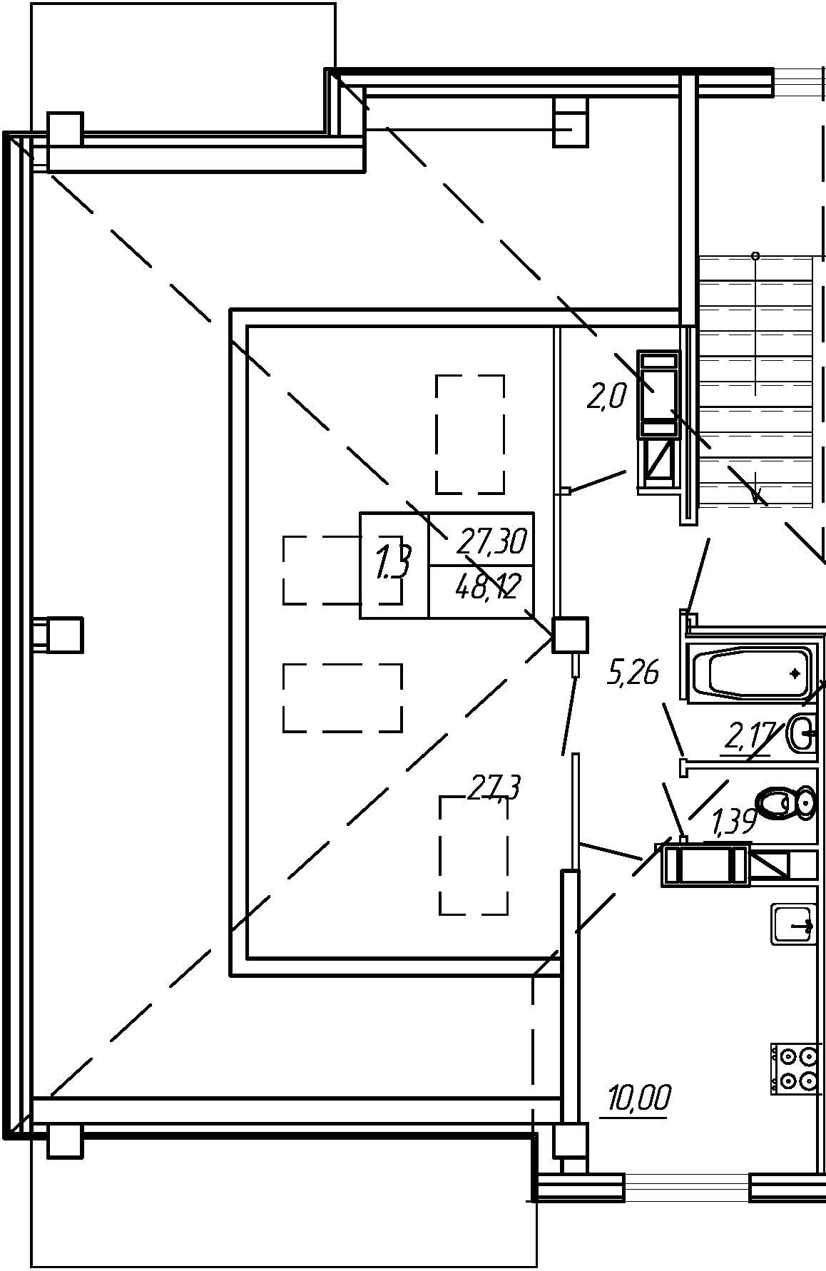 Жилойдом по ул.Мохова, 44(по ГП), Однокомнатная квартира площадью 48.12 м2