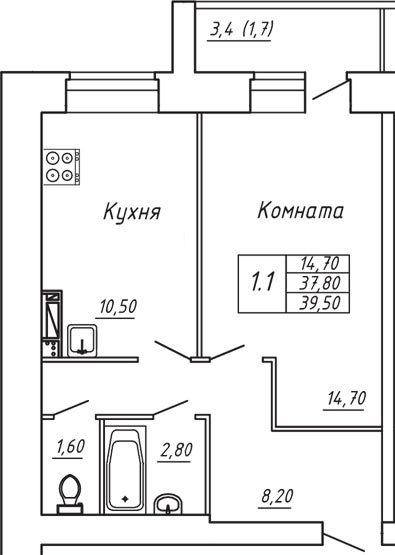 ЖК Любимый дом, Однокомнатная квартира площадью 39.50 м2