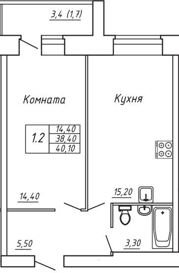 ЖК Любимый дом, Однокомнатная квартира площадью 40.10 м2