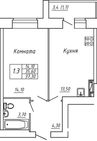 ЖК Любимый дом, Однокомнатная квартира площадью 37.30 м2