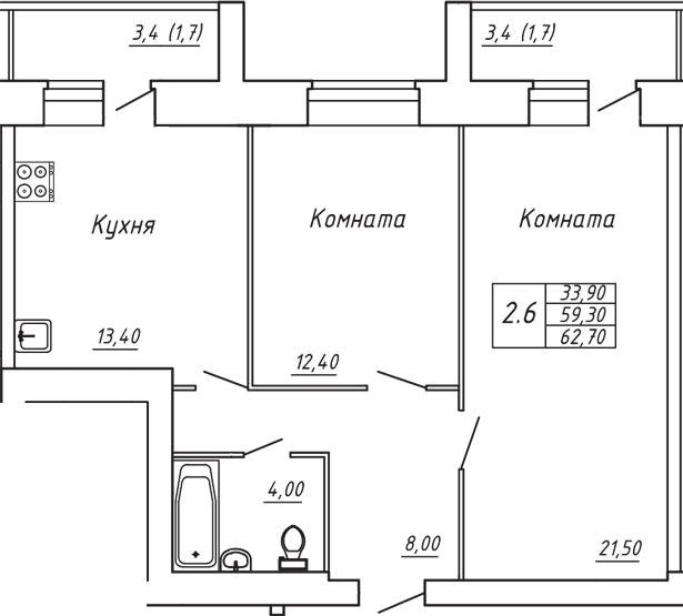 ЖК Любимый дом, Двухкомнатная квартира площадью 62.70 м2
