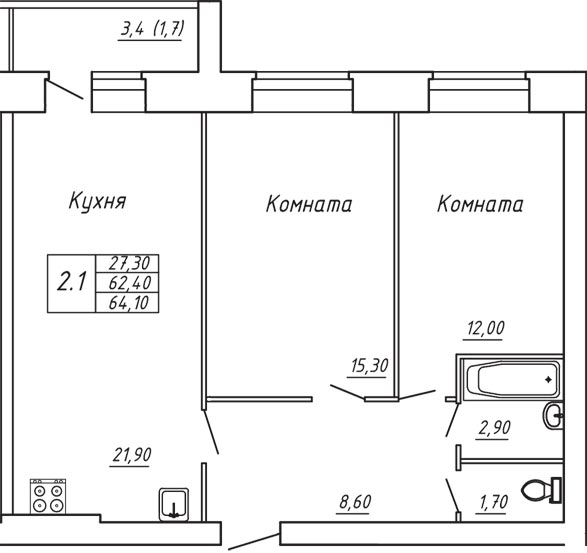 ЖК Любимый дом, Двухкомнатная квартира площадью 64.10 м2