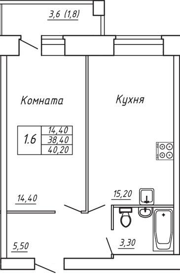 ЖК Любимый дом, Однокомнатная квартира площадью 40.20 м2