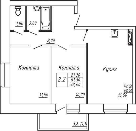 ЖК Любимый дом, Двухкомнатная квартира площадью 52.40 м2