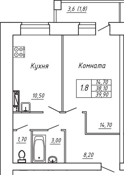 ЖК Любимый дом, Однокомнатная квартира площадью 39.90 м2