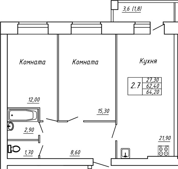 ЖК Любимый дом, Двухкомнатная квартира площадью 64.20 м2