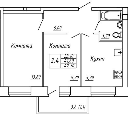 ЖК Любимый дом, Двухкомнатная квартира площадью 42.70 м2