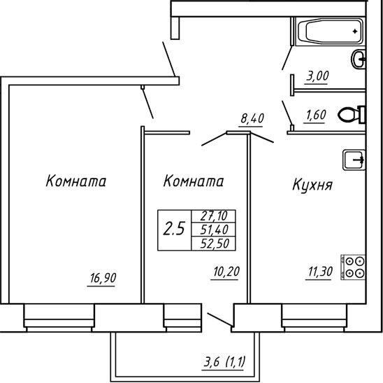 ЖК Любимый дом, Двухкомнатная квартира площадью 52.50 м2