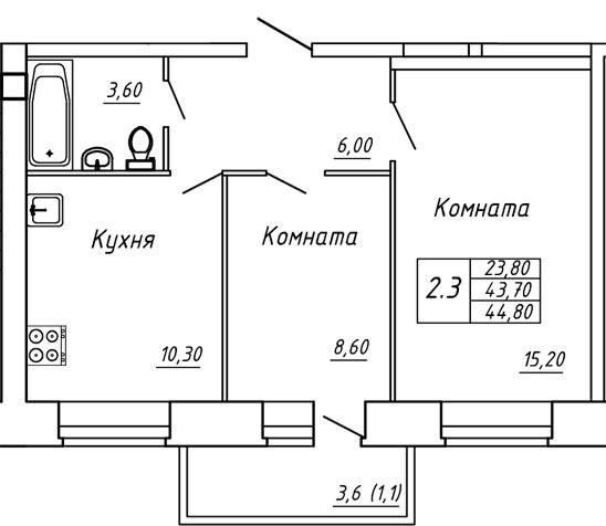 ЖК Любимый дом, Двухкомнатная квартира площадью 44.80 м2