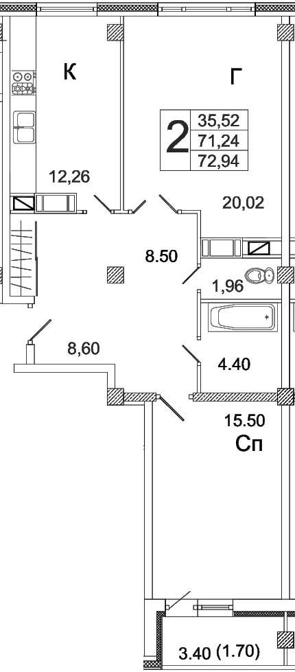 Жилой комплекс Высота, Двухкомнатная квартира площадью 72.94 м2, г.Вологда, ул.Преминина (№32 по генплану)