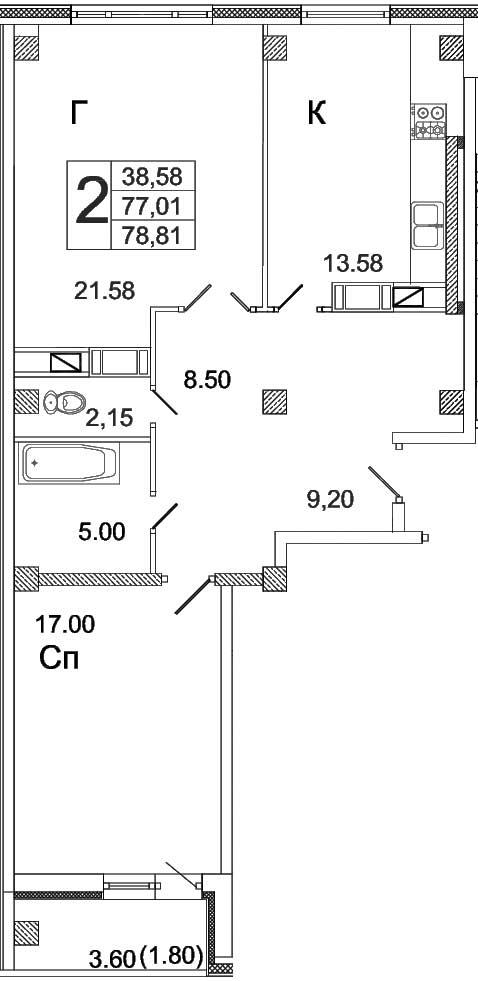 Жилой комплекс Высота, Двухкомнатная квартира площадью 78.81 м2, г.Вологда, ул.Преминина (№32 по генплану)